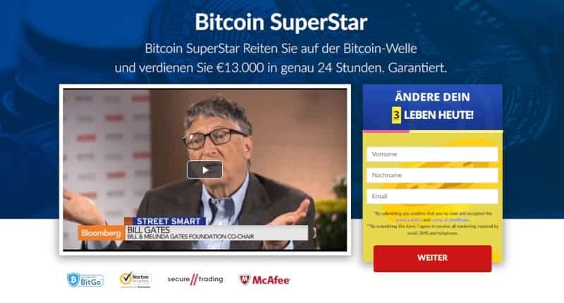 Homepage of Bitcoin Superstar
