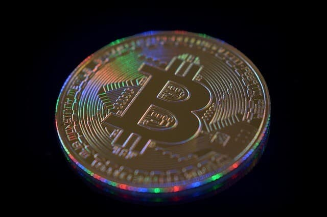 Golden coin BTC colorful lights