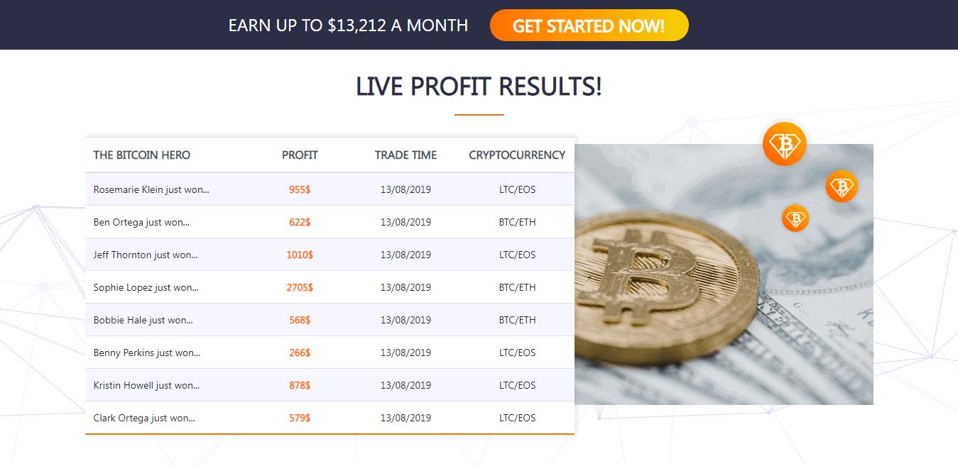 Bitcoin Hero users earnings