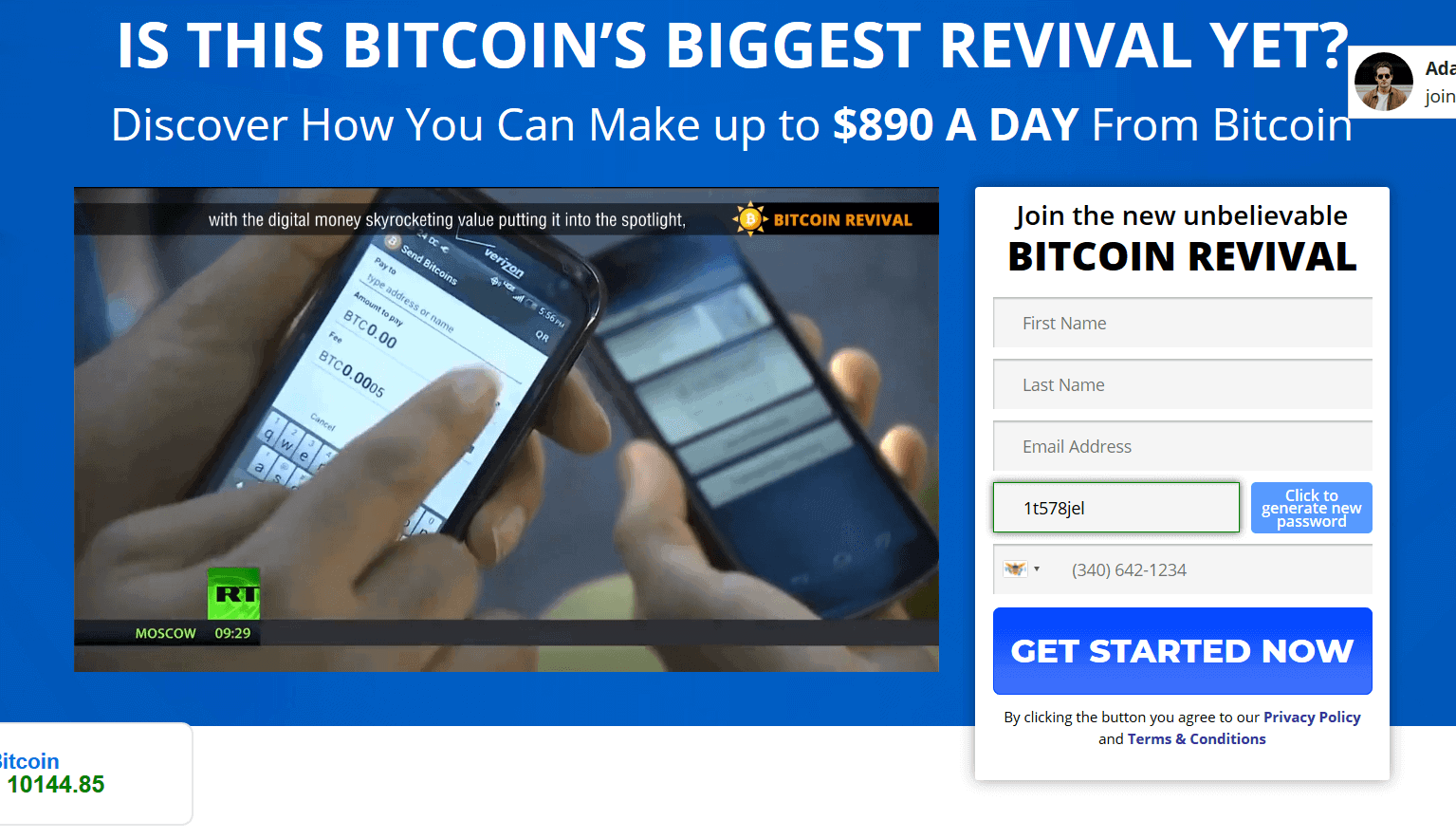 Homepage von Bitcoin Revival