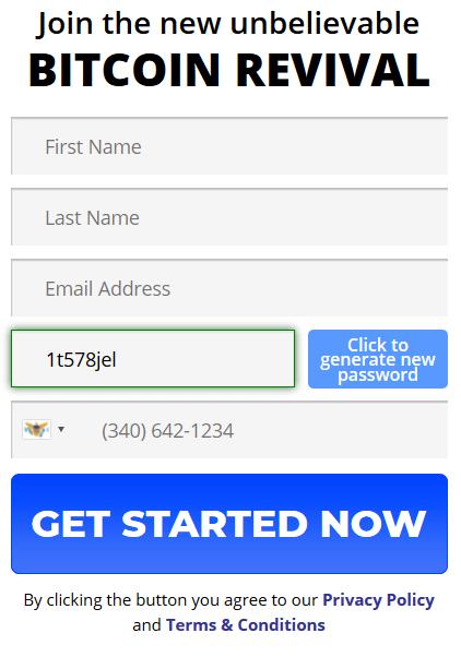 Konto registerform av Bitcoin Revival