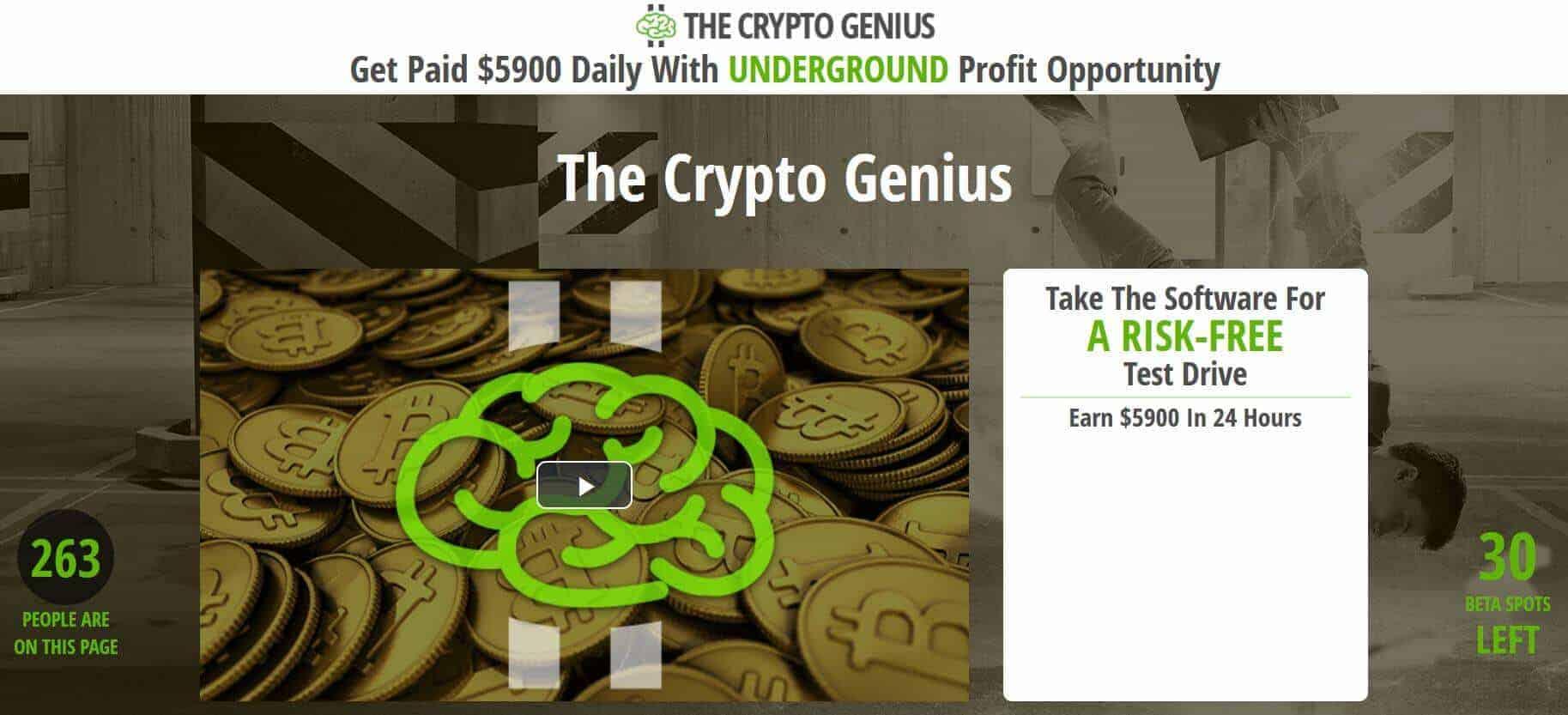 Homepage of Crypto Genius