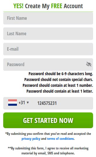 Account register form of Crypto Genius
