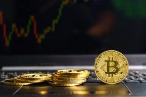 Bitcoins en un teclado